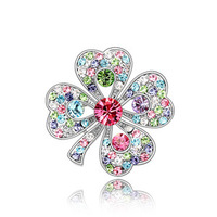 Lucky four leaf clover corsage large flower brooch female vintage pin crystal badge brooch