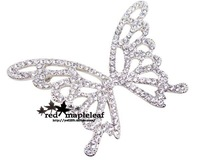 Quality vintage crystal rhinestone butterfly suit big brooch female brooch big flower 6 accessories