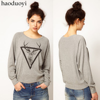 New Women's Triangle Deer print Light gray o-neck pullover long sleeve Hoodies sweatshirts 6 sizes clothing women hoodies