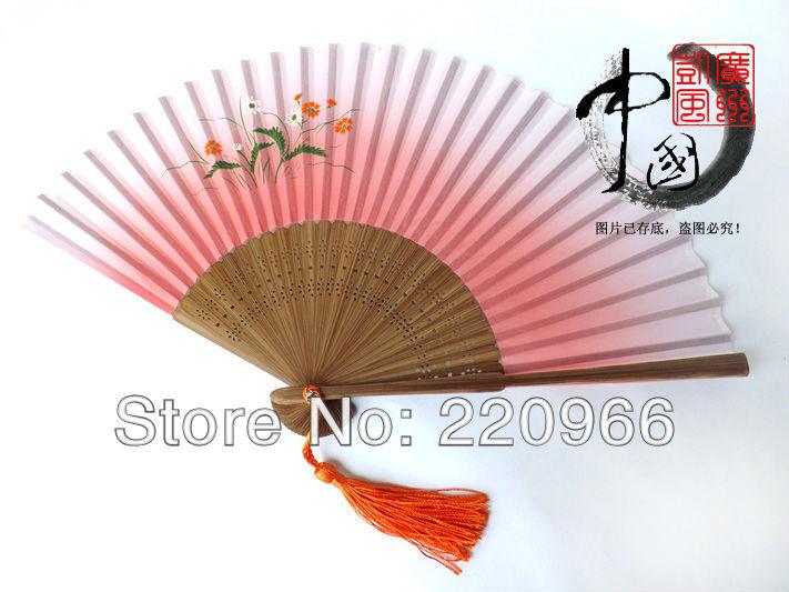 [China National Arts and crafts ]20pc/lot Free Shipping yellow fashion hand painted oriental design Silk hand fan(China (Mainland))
