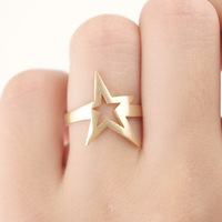 free shipping Silver Rose Gold Plated Star Stackable Ring