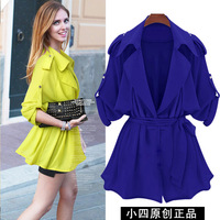 Turn-down collar loose women's medium-long plus size trench outerwear women's spring and autumn star 2013