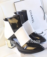 British style black and white color block decoration japanned leather gold plating thick heel boots