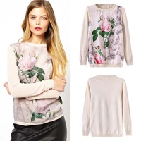 [SEKKES] 2014 SPRING-SUMMER KNITTED PULLOVER FLORA PRINT SWEATER WOMEN KNITWEAR ROSE JUMPER SWT92