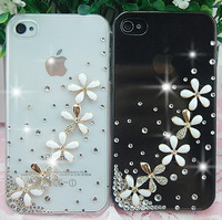 HK Free Shipping Bulk 3D Pure and fresh and flower Crystal Diamond Case Cover For iPhone4 4S Retail Package Accessory