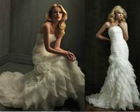 2013 New Fashion Strapless Organza Mermaid With Train White Ivory Wedding Dresses LO3091
