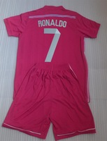 13-14 New Thailand quality  kids soccer jersey Real Madrid Blue Ronaldo,boy football shirt +short,soccer uniforms free shipping