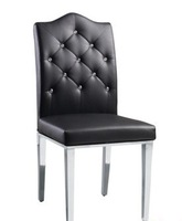 PU leather and stainless steel foot dining chair