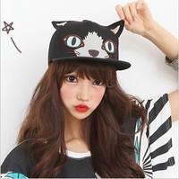 wholesale cheap Korea cute cat ear flat hip-hop Cap beautiful women's Baseball cap  fitted colorful snapback hat for girls