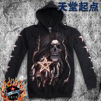 Men autumn black zipper hoodie sweatshirt hip-hop luminous skull pattern