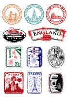 Postmarked london europe vintage travel bag laptop sticker