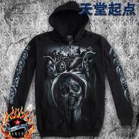 Autumn Men zipper hoodie hip-hop sweatshirt demon skull luminous