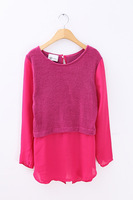 Knitting + Chiffon top Sweaters woman