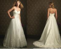 2013 New Fashion Sweetheart Organza With Train Applique Spaghetti straps White & Ivory Wedding Dresses LO3092