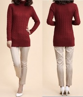 2013 Korean New Warmth Turtleneck Autumn Winter  Women Sweater Dress Elastic Cardigan Pullover Long Sleeve Outwear