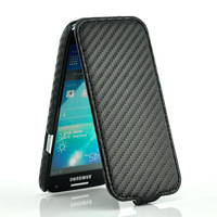 Carbon Fiber Leather Skin Flip Case Cover For Samsung i9190 Galaxy S4 mini Black