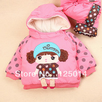 chilren's 2013  two-piece  new winter girls coat cute little beauty dot  coat suit