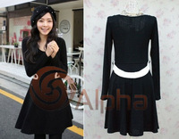 Free Shipping Simple Elegant Solid Color Women Dress Slim Waist O-neck Long Sleeve Female One Piece Dress