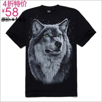 fashion free shipping Metal non-mainstream personality hiphop male short-sleeve o-neck t-shirt 3dt t shirt