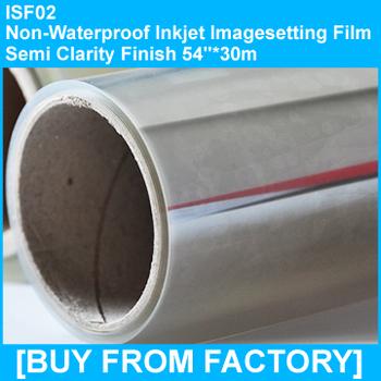 "Non-waterproof Inkjet Color Separation Film Semi Clarity Finish 54""*30m"