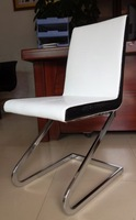 Modern PU leather dining chair with Z shape plating steel  foot