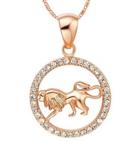 Leo constellation korea style popular girl necklace 2013 for women 18k rose gold filled crystal brass jewelry 2013 #9165