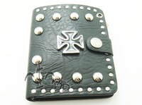 Hot  sale Hip  hop Punk cross rivet male personality punk short design genuine leather wallet genuine leather wallet