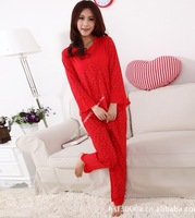 Spring and autumn long-sleeve 100% cotton female the bride the big red festive sleepwear lace princess lounge sleep set