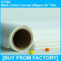 "Inkjet Printable Matte Cotton Canvas Good Quality 380gsm  44""*30M"