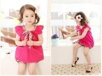 wholesale 5set/lot shirt pants gril 's set ,cute bowknot ruffles sleeve shirt floral pants baby gril 2pcs set ,kid's clothes