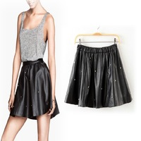 2013 autumn fashion street skull rivet short skirt bust skirt leather skirt PU skirt female