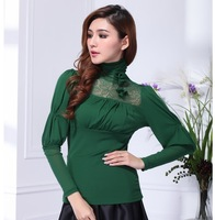 Fashion women's shayi 2013 autumn elastic gauze turtleneck long-sleeve basic shirt t-shirt