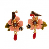 Free Shipping,Fashion Jewelry 2013 New Rrobin and Flower Earrings,High quality