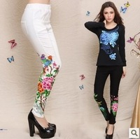 Women Fashion Elastic Waist Embroidery Floral Decor Back Pockets Solid Skinny Pant Free Shipping S230-2-2328