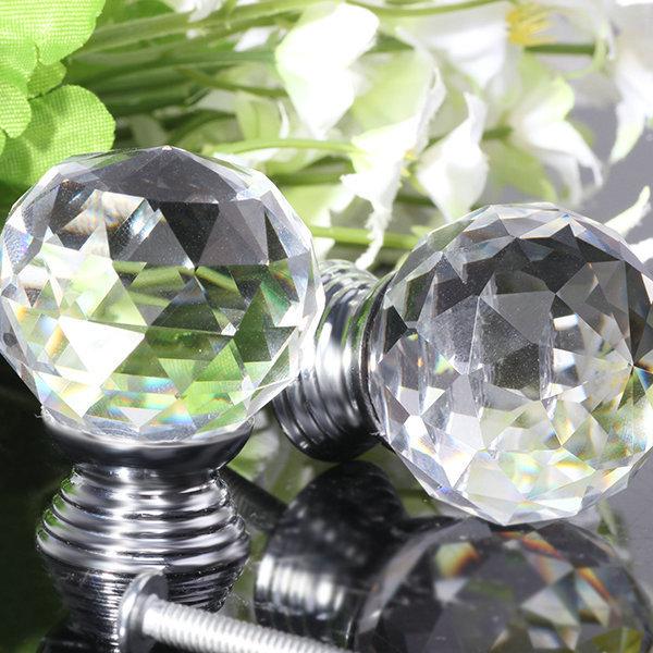 2pcs vidro cristal armário gaveta mobília maçaneta porta clara lida com
