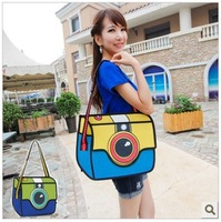 2013 Free Shipping Creative Comic Book Bag 3D Effect Shoulder Bag Inclined Female Cartoon handbag