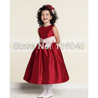 2013 Sleeveless Round Neck Princess A Line Taffeta Unique Style Little Girl Prom Party Flower Girl Dresses