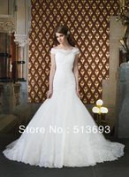 Comfortable Mermaid with Short Sleeves Organza Free Shipping Bridal Gowns 2014