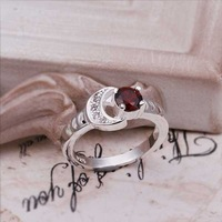 Hot Sell!Wholesale Sterling 925 silver ring,925 silver fashion jewelry ring,Red Crystal Moon Stone Rings SMTR262