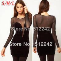2014 spring autumn new women's sey club gauze deep V halter long sleeve patchwork elastic mini black dress free shipping wj