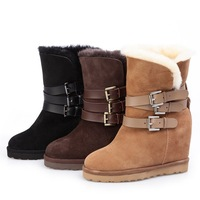 New 2013  genuine leather Ash Women's Yes Shearling Calfskin Leather Wedge Boots real fur boots  wool warm winter snow boots