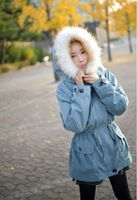 Free shipping 2013 new winter coat winter coat and long sections Slim ladies thick warm fur collar coat padded jacket