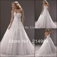 Elegant White/Ivory Sweetheart Appliqued Organza Bridal Wedding Dress Wedding Gowns 2014 New Arrival
