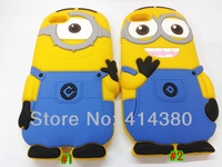 Hot Sale Free Shipping 3D Despicable Me 2 Minions Soft Silicone Back Cover Case for Apple Iphone 4 4S 5 5G 10pcs/lot