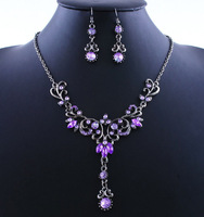Vintage  Wedding Party  Costume Jewelry  Crystal  Choker  Tassel  Statement  Necklace Earring  Set