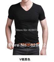 Free Shipping Fashion Brand New Men's GentleMen Slim Fit V-Neck Short Sleeve Bottoming Cotton Casual T-Shirt T Shirt, T1