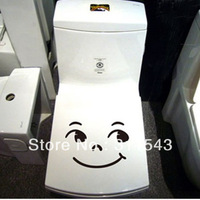 Free Shipping smile face Bathroom Wall Toilet Sticker cartoon Art Vinyl Decor Decoration Decal TS09