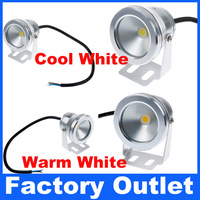 5pcs Christmas Light 10W IP68 Waterproof AC/DC 12V LED Underwater Light Cool White Warm White Silver Shell Factory Outlet