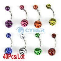 40Pcs/Lot Mix UV Zebra Stripe Barbell Belly Navel Ring Curved Steel Ball Body Piercing Jewelry 15183