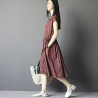 Free Shipping loose vintage fluid dot 100% cotton raglan sleeve one-piece dress female